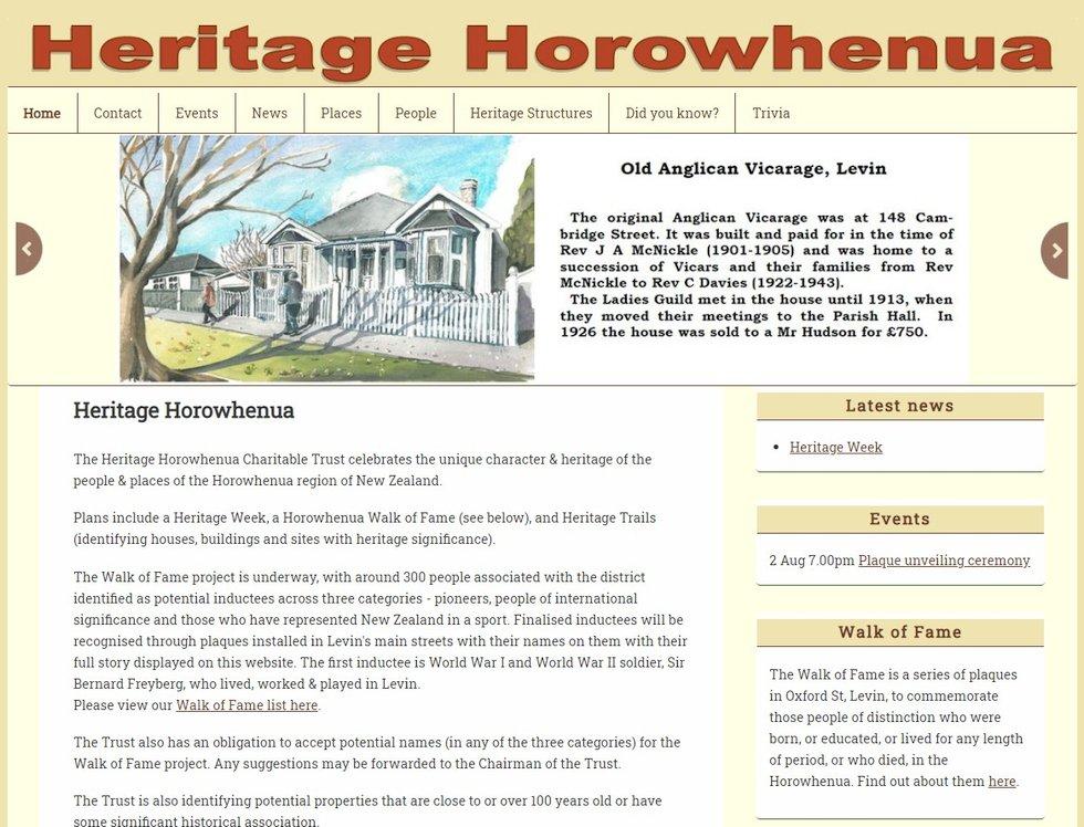 Heritage Horowhenua screen
