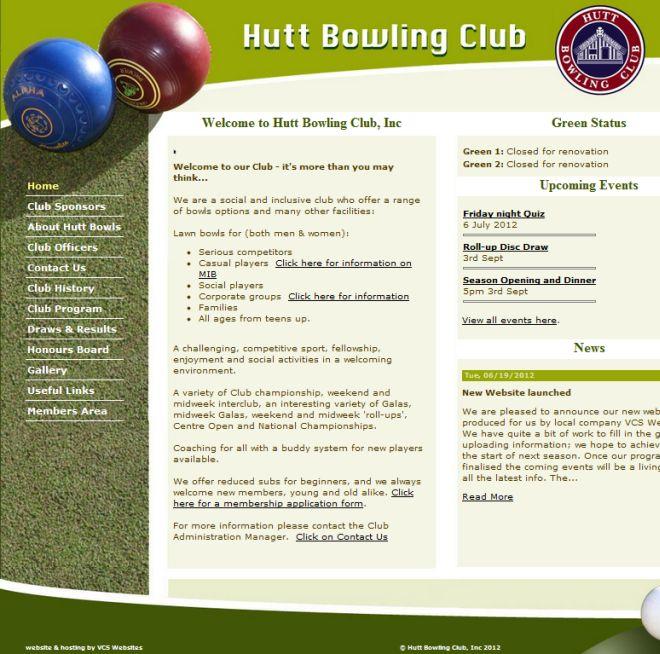 Hutt bowls website