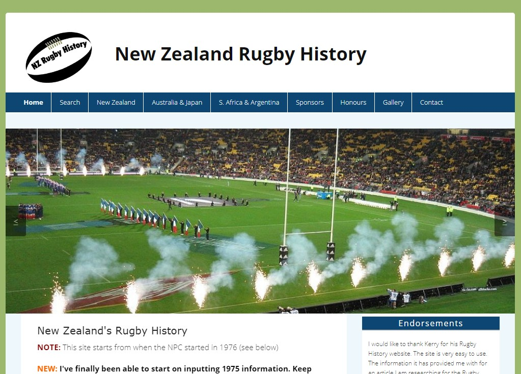 snapshot of New Zealand Rugby History site