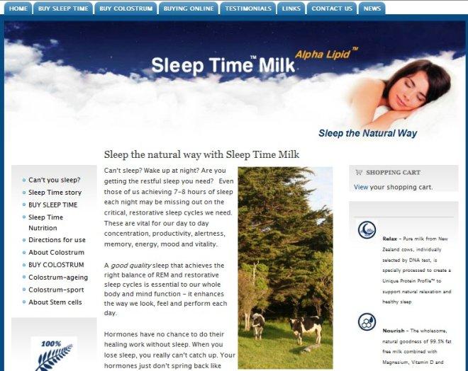 Sleep time milk website
