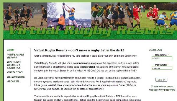 snapshot of Virtual Rugby site