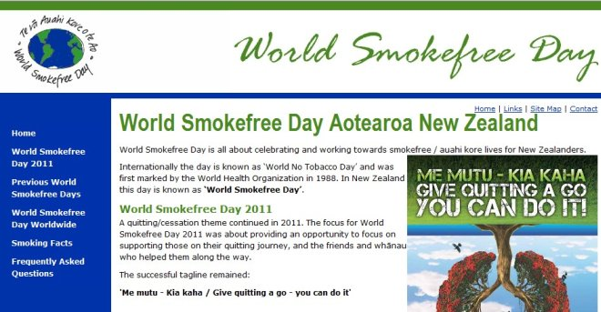 snapshot of World Smokefree Day site